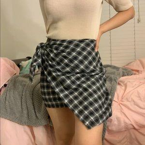 ENORY PARK plaid tie skirt